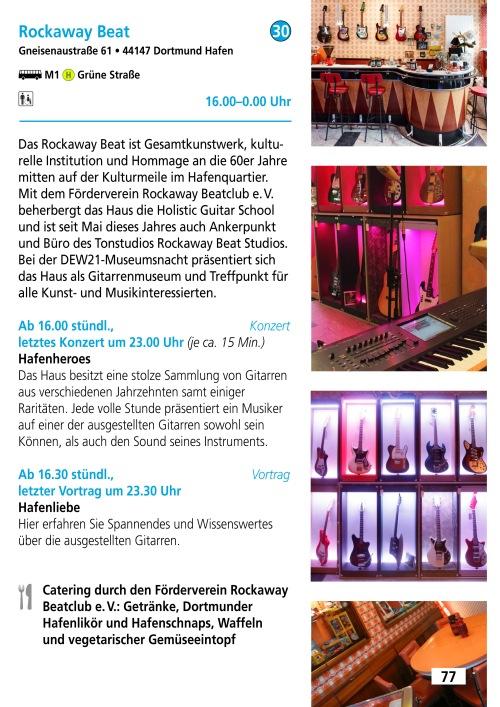 Katalogseite Rockaway Beat Museumsnacht 2019